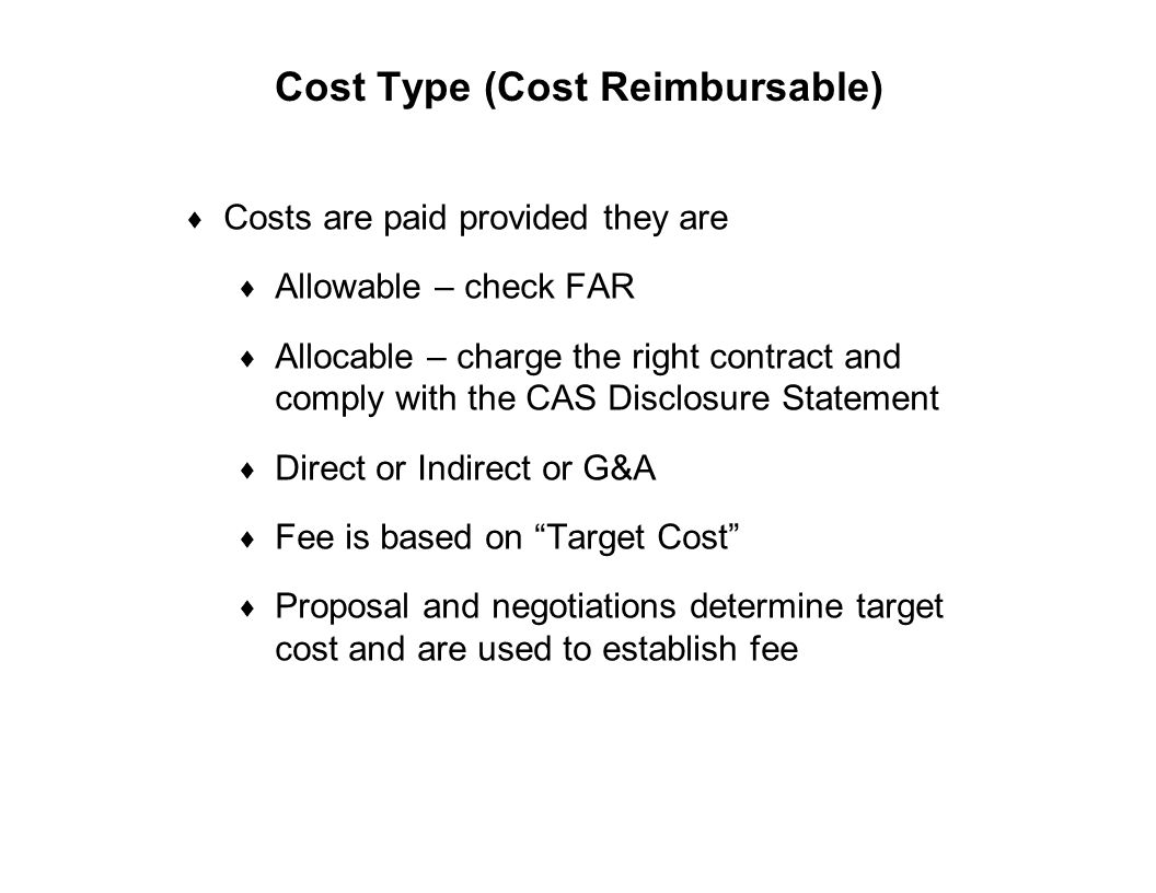 Cost Type (Cost Reimbursable)
