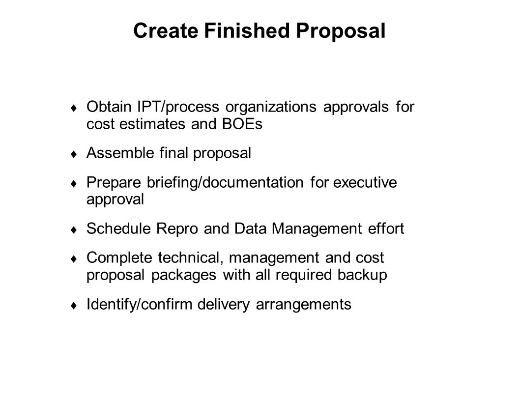 Create Finished Proposal