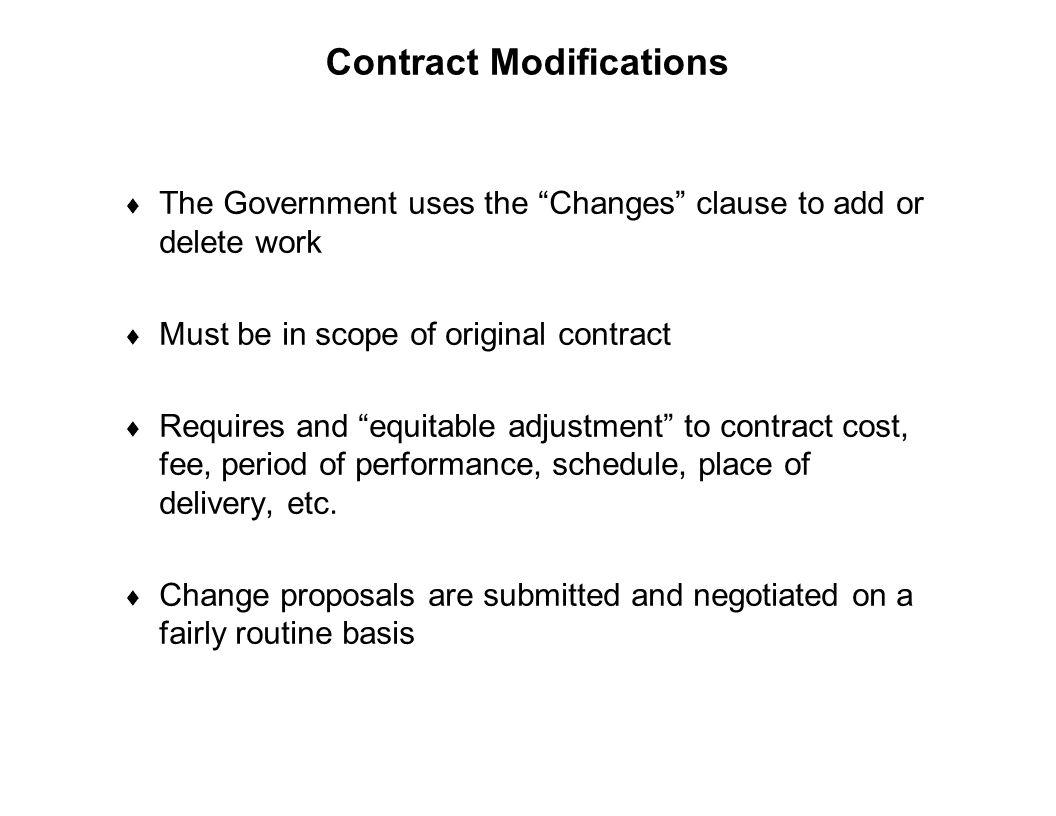 Contract Modifications