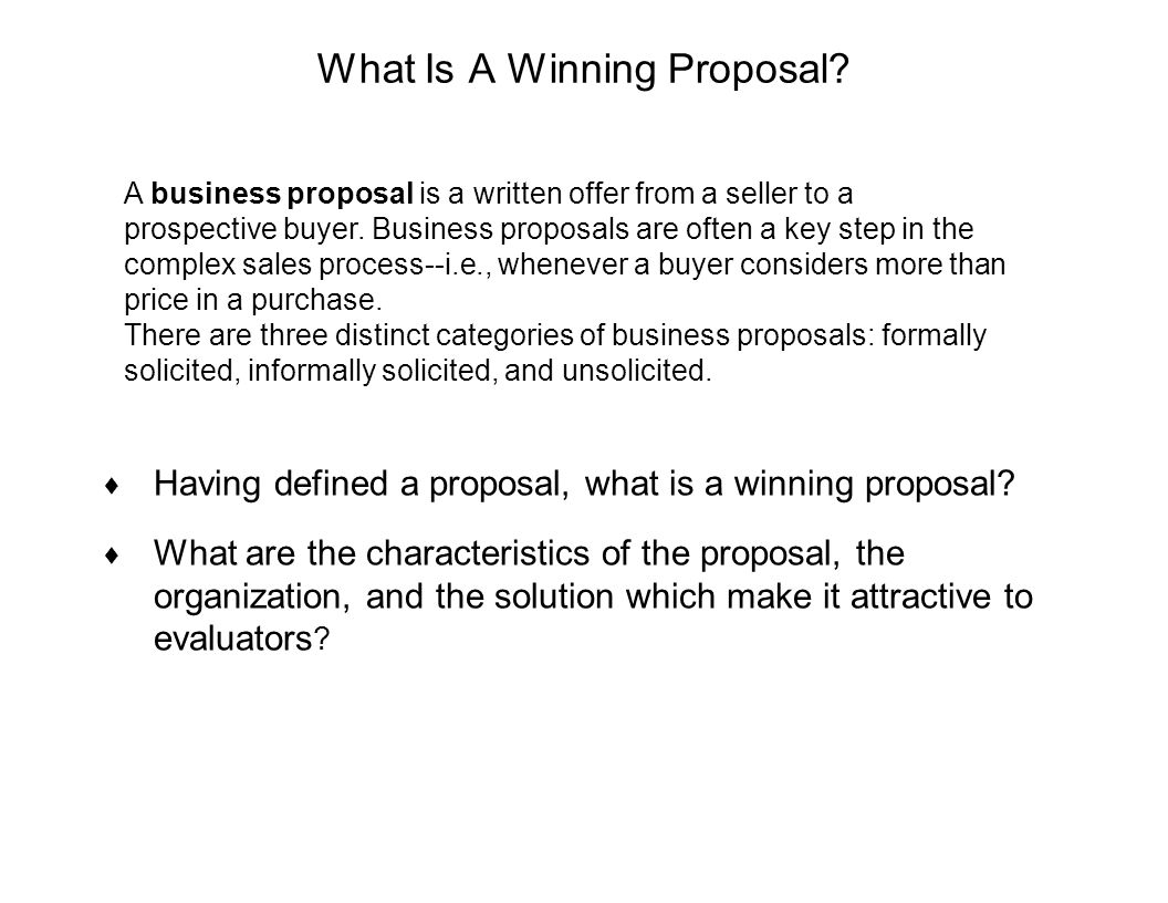 What Is A Winning Proposal