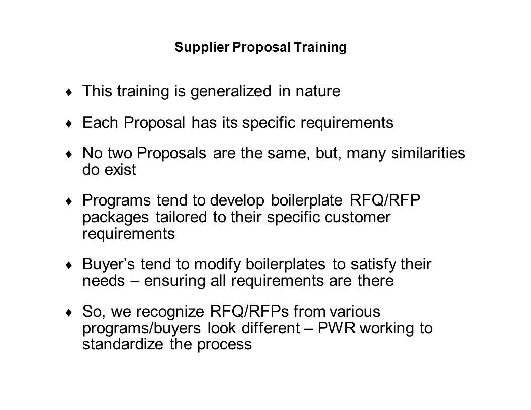 Supplier Proposal Training