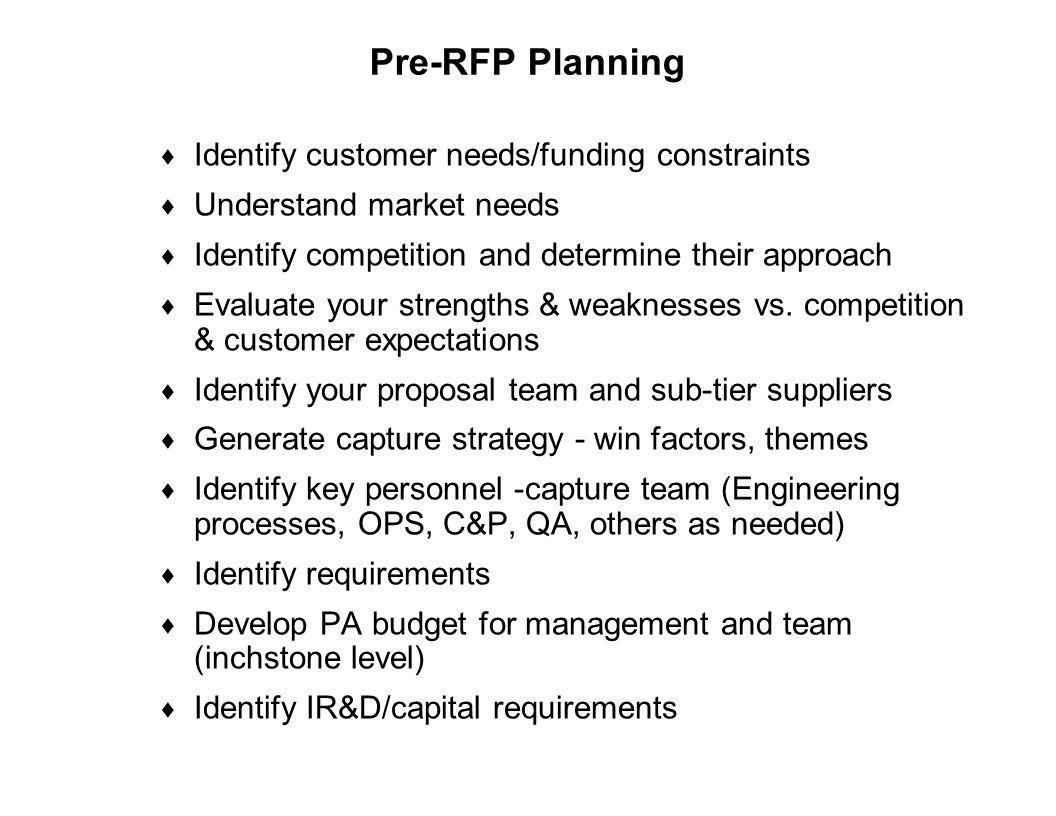 Pre-RFP Planning Identify customer needs/funding constraints
