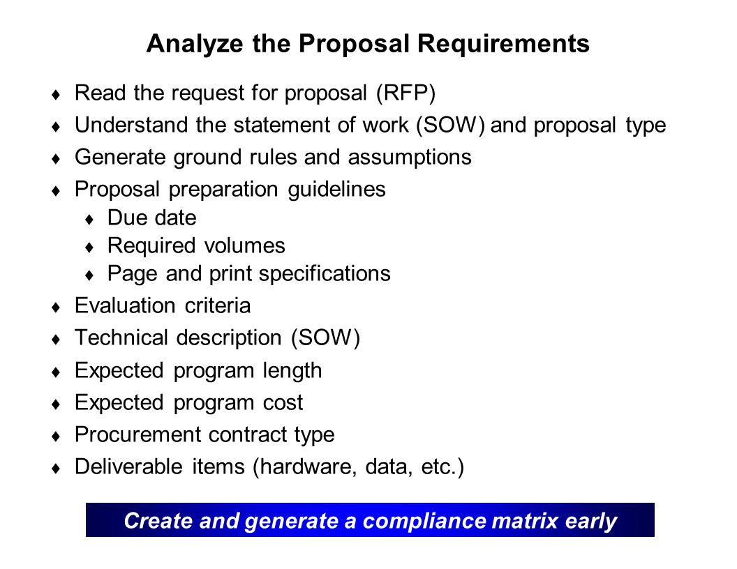 Analyze the Proposal Requirements