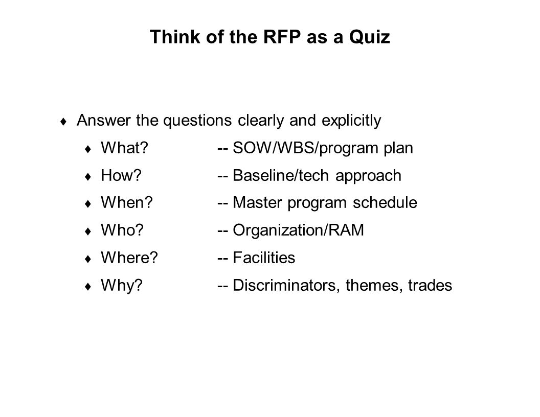 Think of the RFP as a Quiz