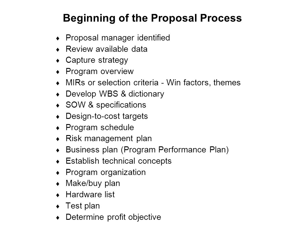Beginning of the Proposal Process