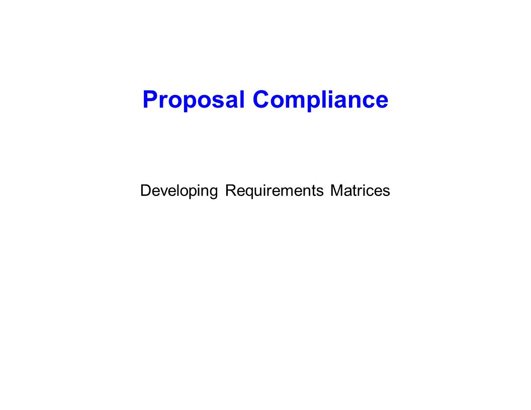 Developing Requirements Matrices