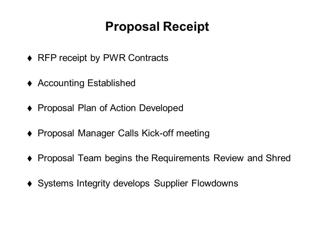 Proposal Receipt RFP receipt by PWR Contracts Accounting Established