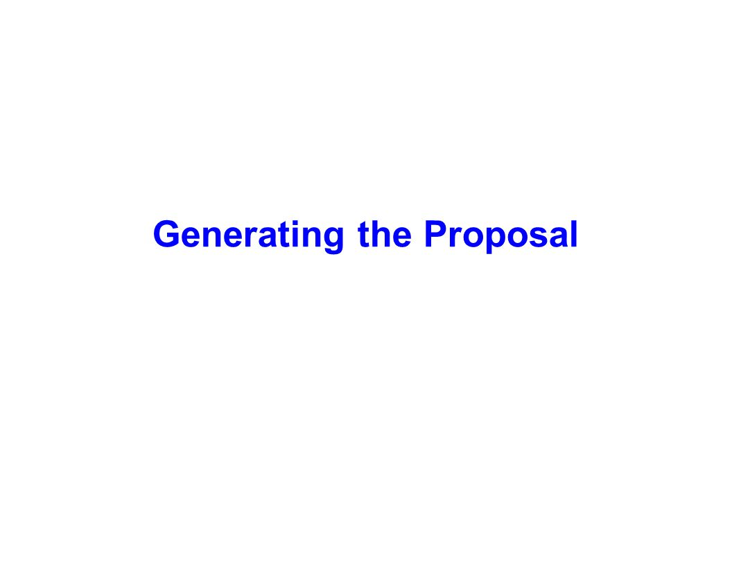 Generating the Proposal