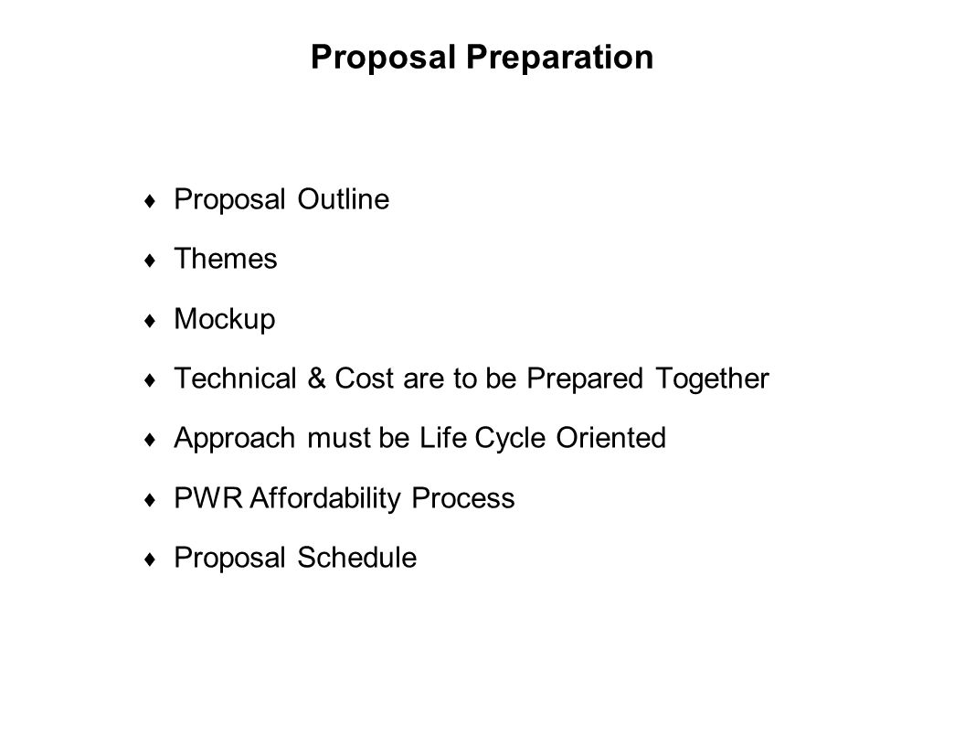 Proposal Preparation Proposal Outline Themes Mockup