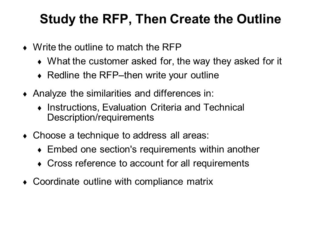 Study the RFP, Then Create the Outline