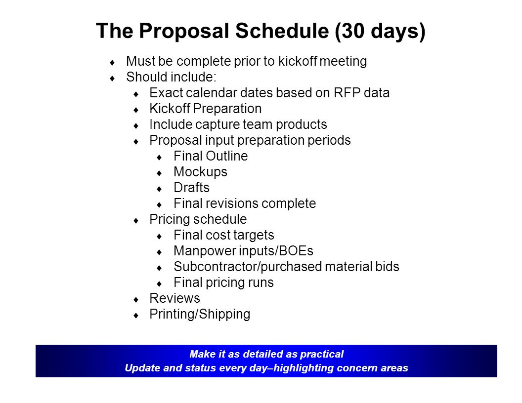 The Proposal Schedule (30 days)