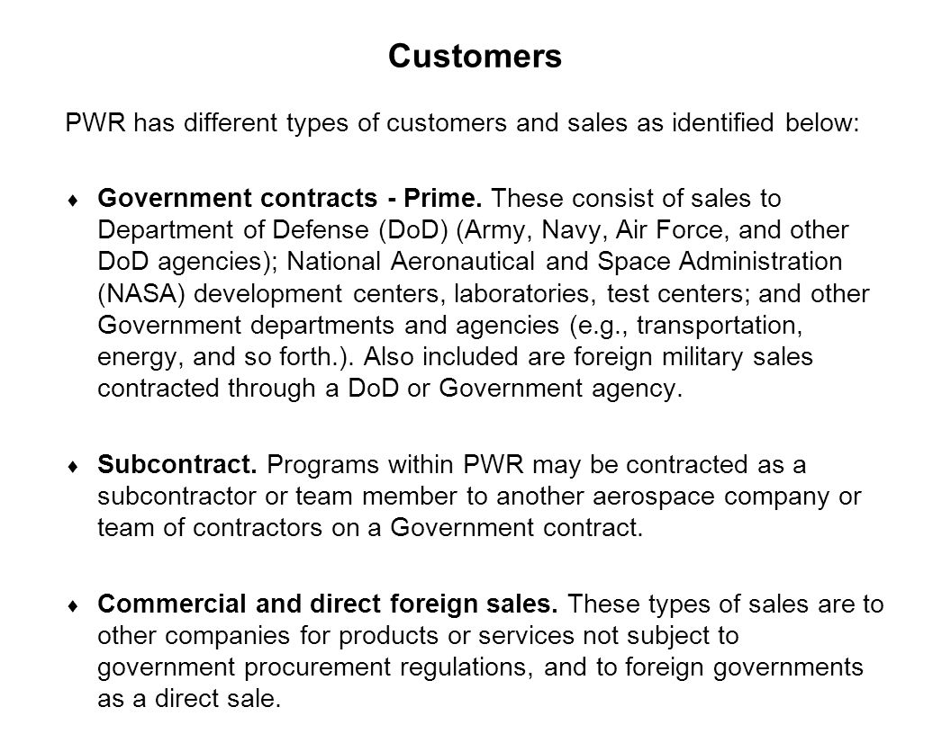 Customers PWR has different types of customers and sales as identified below: