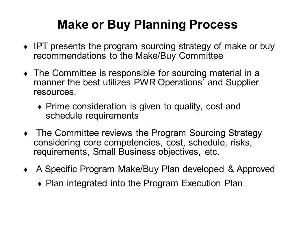 Make or Buy Planning Process