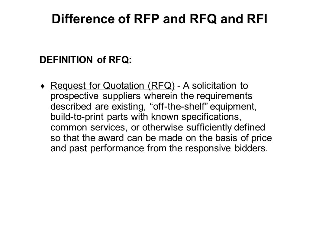 Difference of RFP and RFQ and RFI