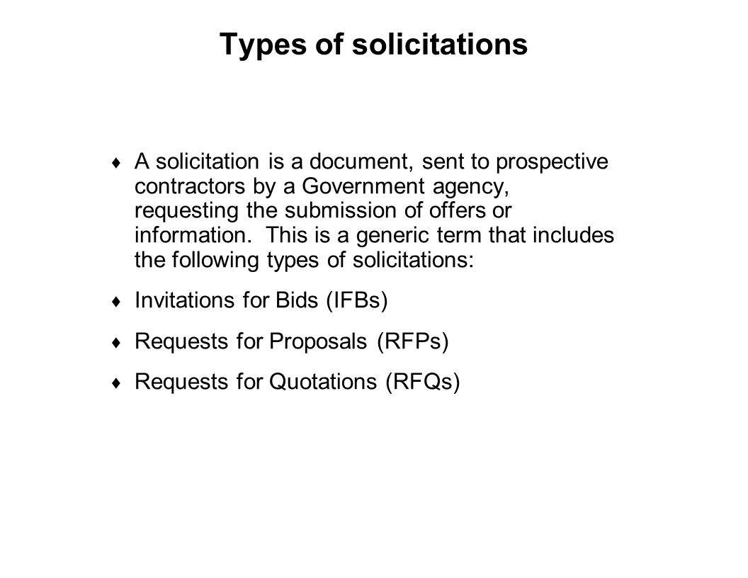 Types of solicitations