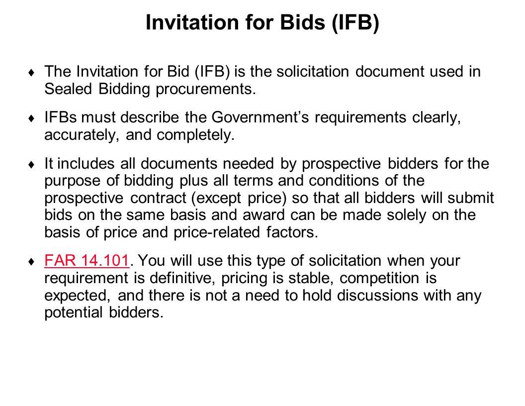 Invitation for Bids (IFB)