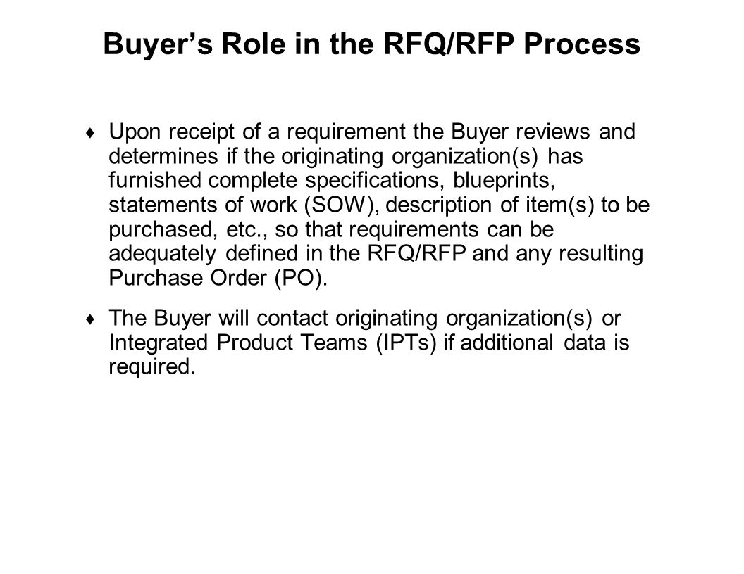 Buyer's Role in the RFQ/RFP Process