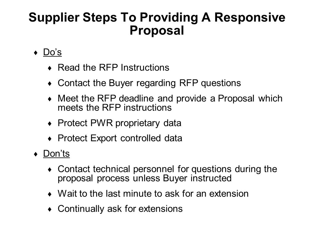 Supplier Steps To Providing A Responsive Proposal
