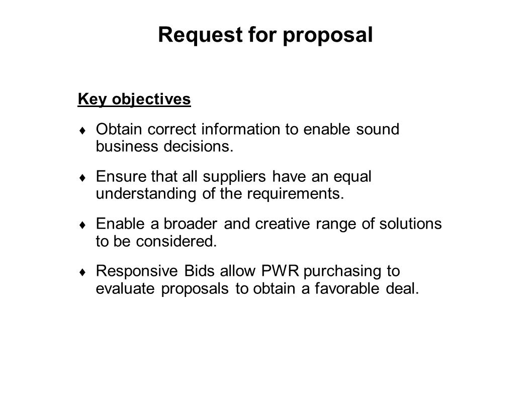 Request for proposal Key objectives