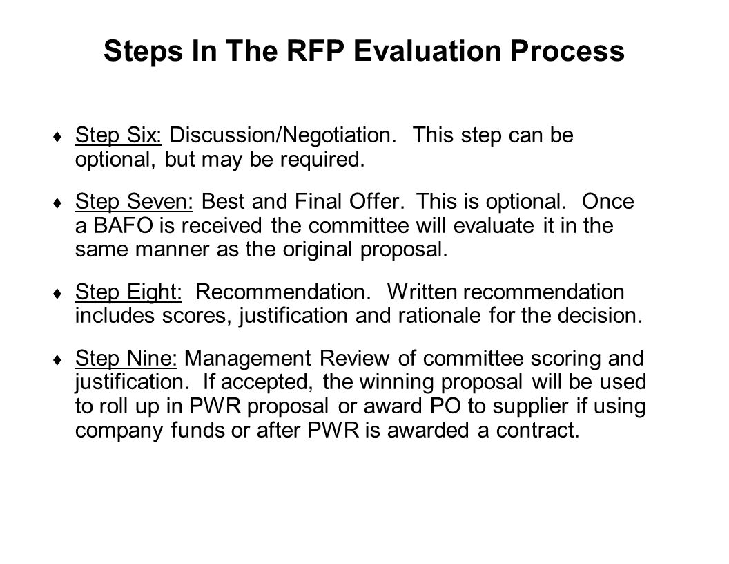 Steps In The RFP Evaluation Process