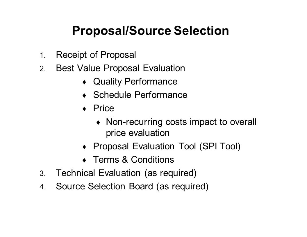 Proposal/Source Selection