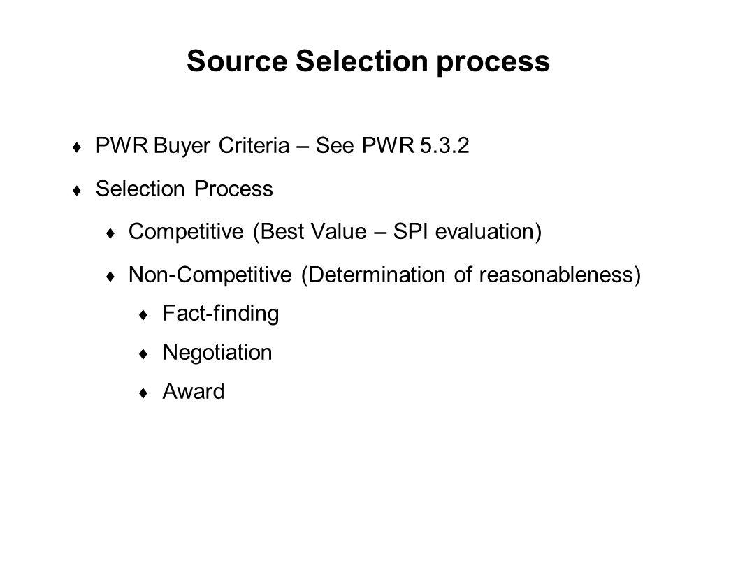 Source Selection process
