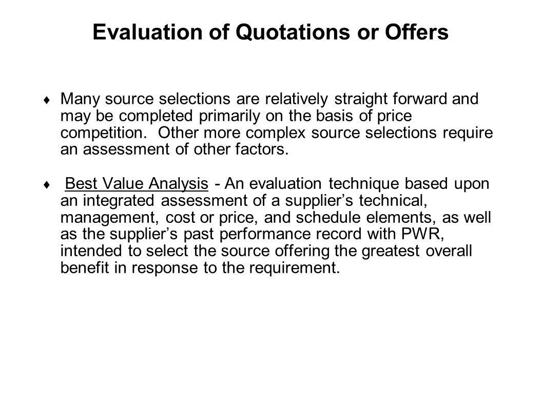 Evaluation of Quotations or Offers