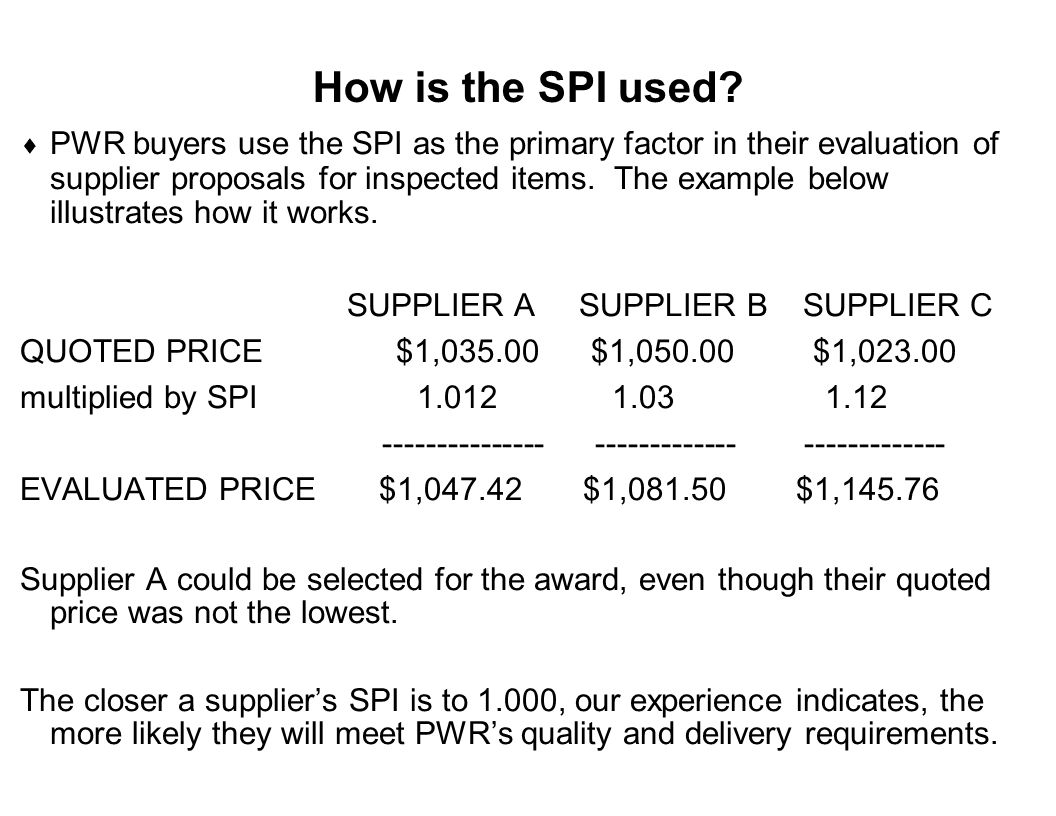 How is the SPI used