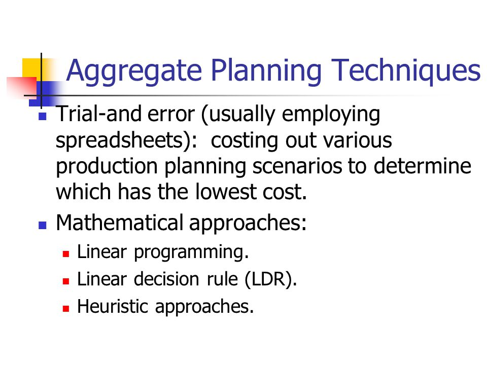 Aggregate Planning Techniques