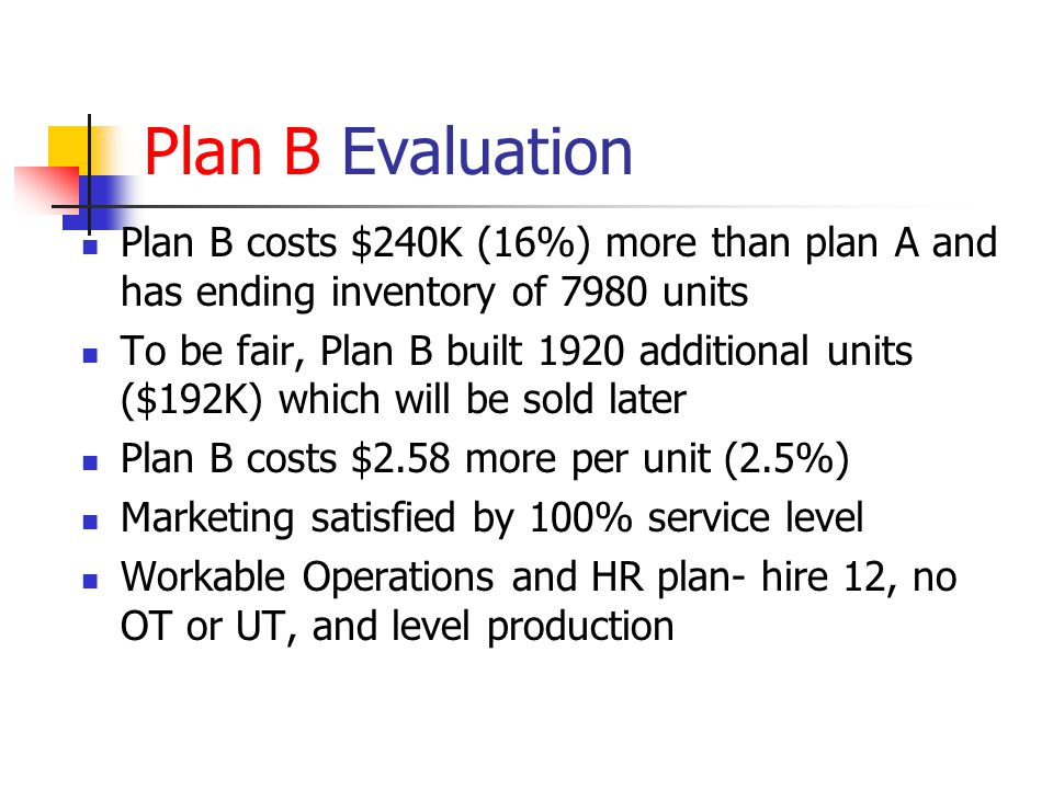 Plan B Evaluation Plan B costs $240K (16%) more than plan A and has ending inventory of 7980 units.