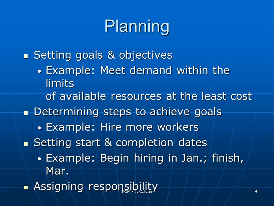 Planning Setting goals & objectives