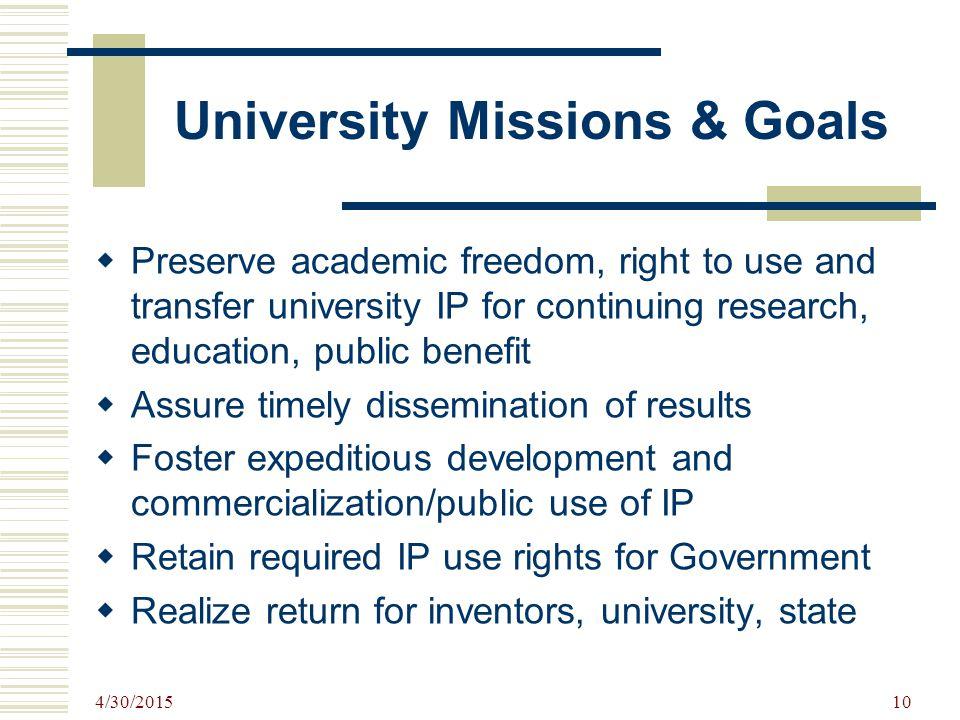 University Missions & Goals