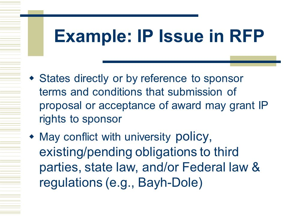 Example: IP Issue in RFP