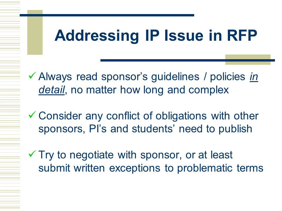 Addressing IP Issue in RFP