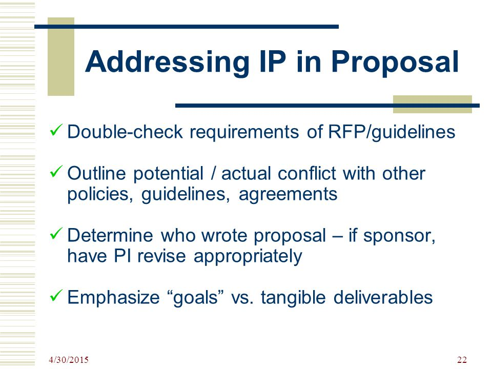 Addressing IP in Proposal