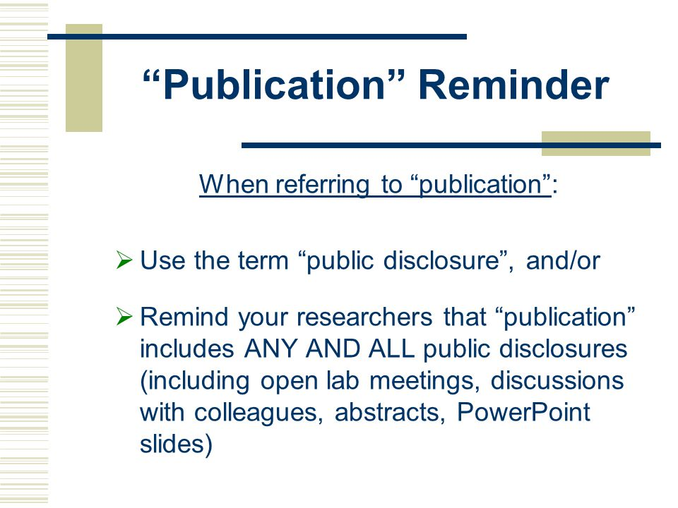 Publication Reminder