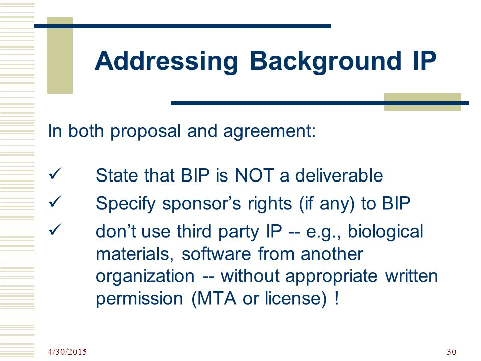 Addressing Background IP