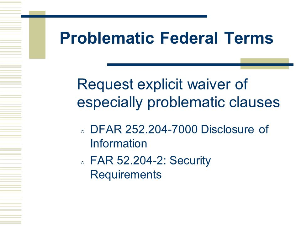 Problematic Federal Terms
