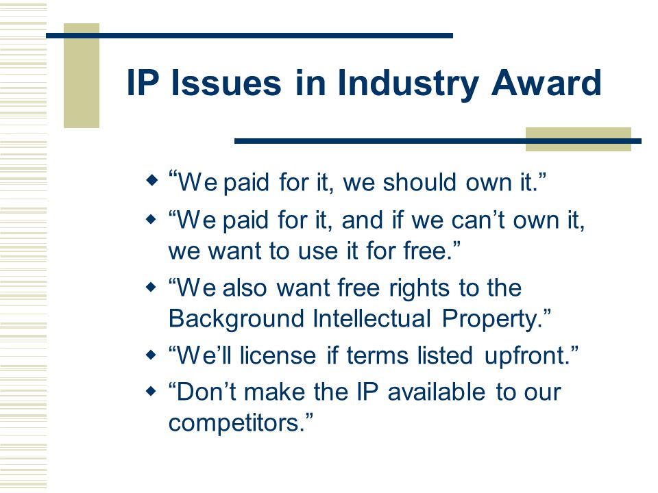IP Issues in Industry Award