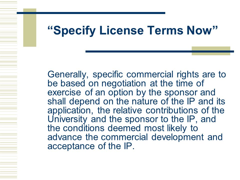 Specify License Terms Now