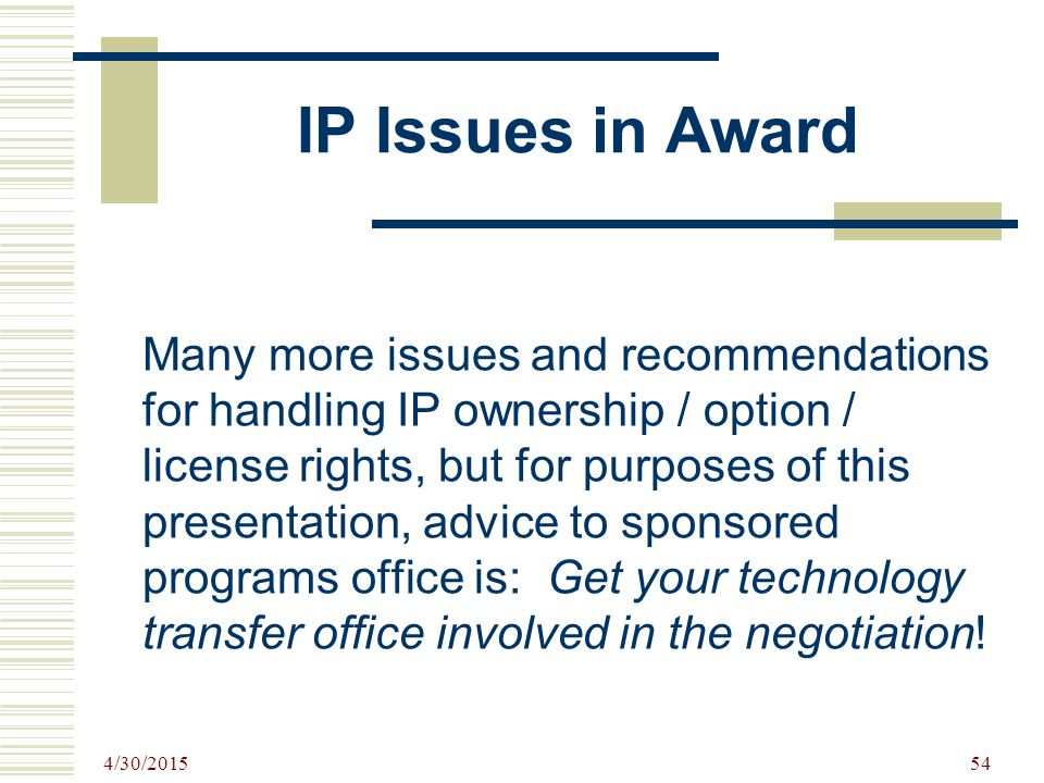 IP Issues in Award