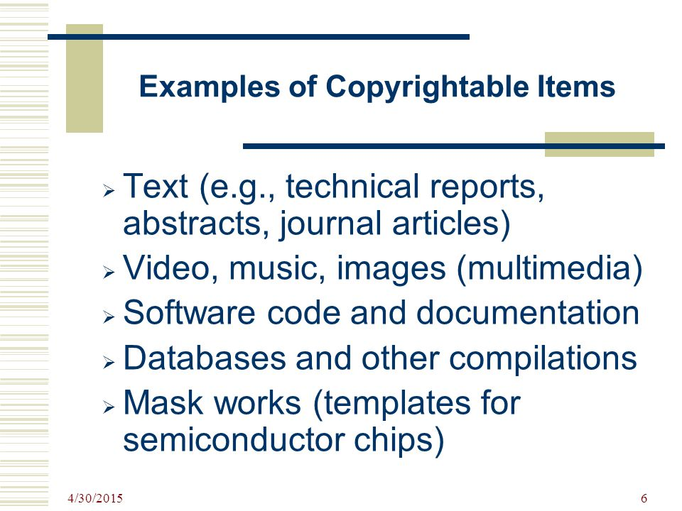 Examples of Copyrightable Items