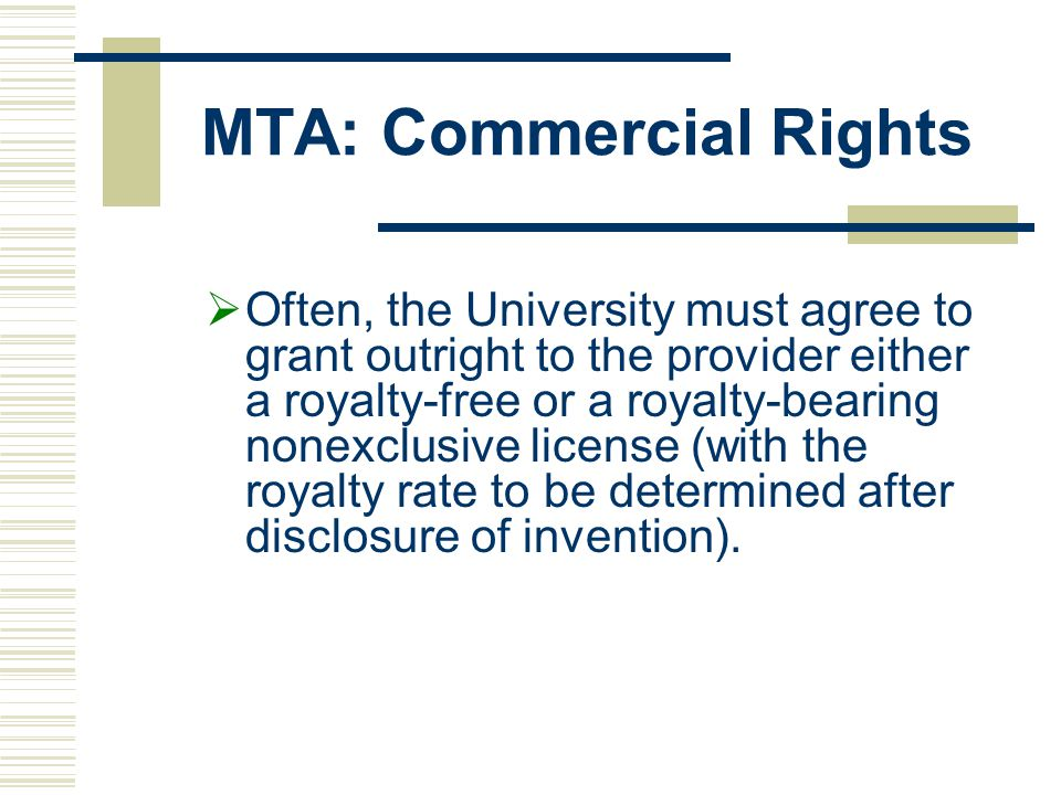 MTA: Commercial Rights