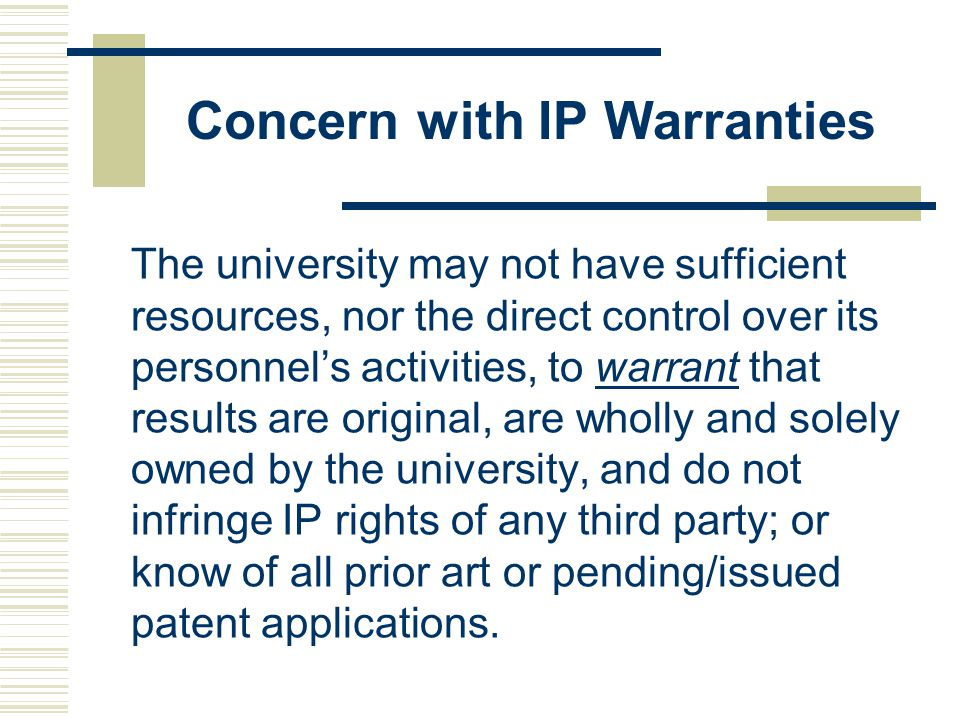 Concern with IP Warranties
