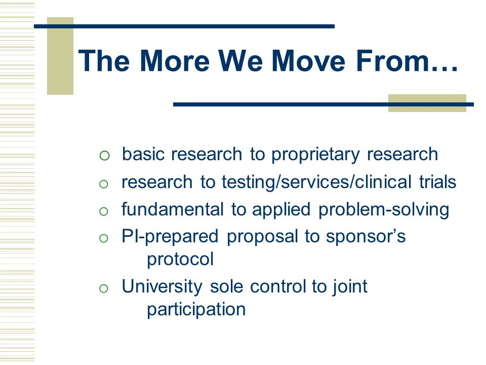 The More We Move From… basic research to proprietary research