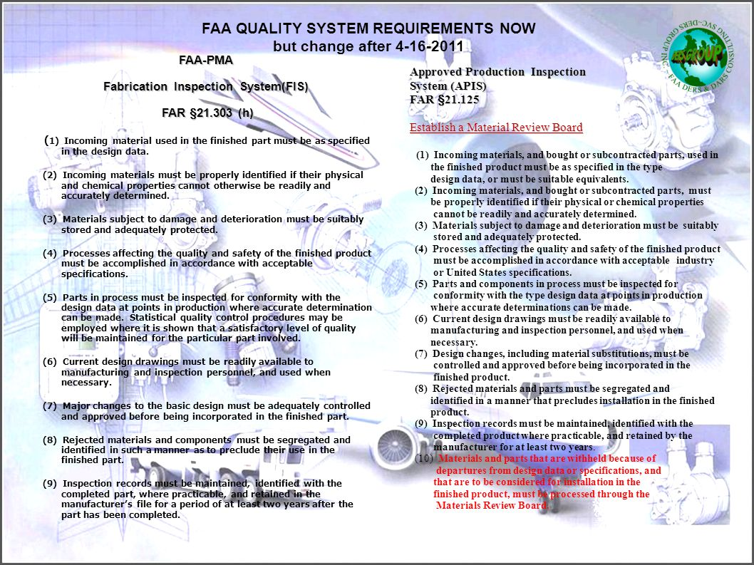 FAA QUALITY SYSTEM REQUIREMENTS NOW but change after 4-16-2011