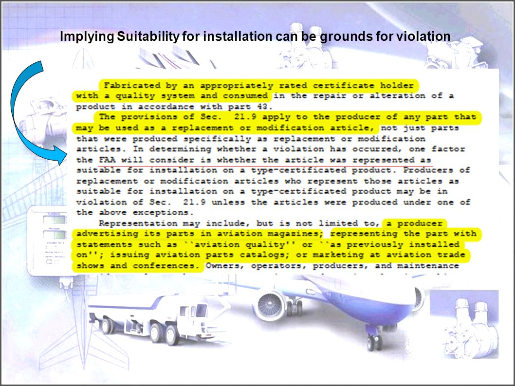 Implying Suitability for installation can be grounds for violation