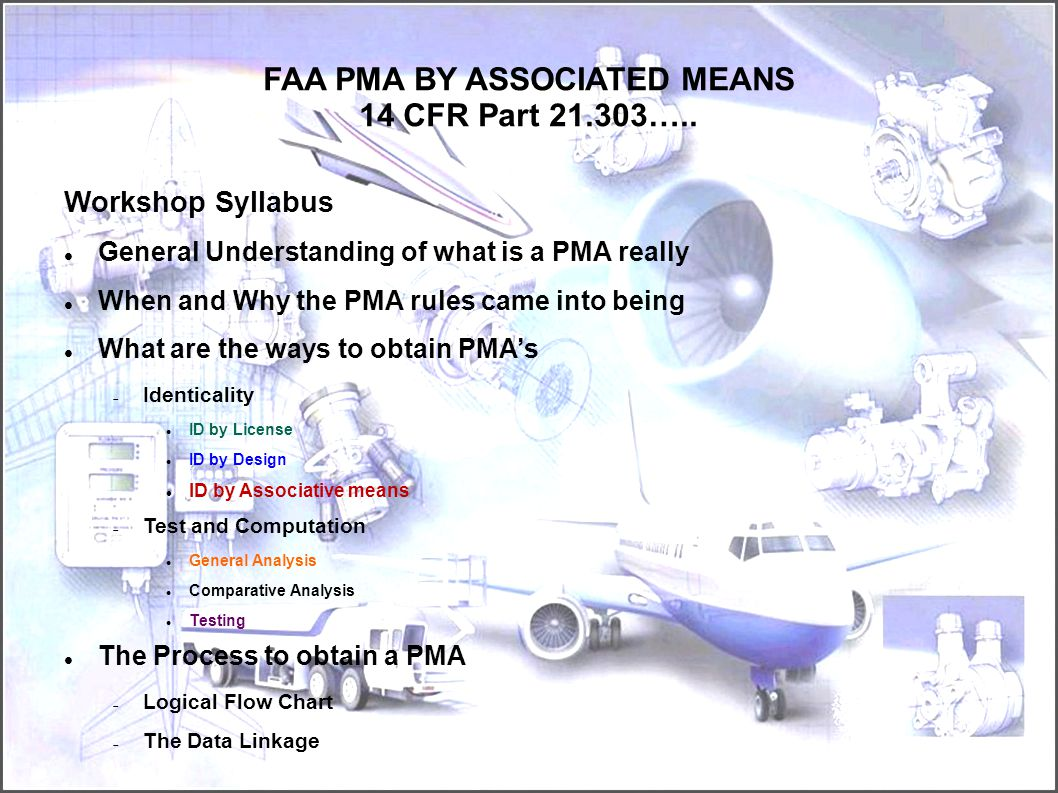 FAA PMA BY ASSOCIATED MEANS 14 CFR Part 21.303…..