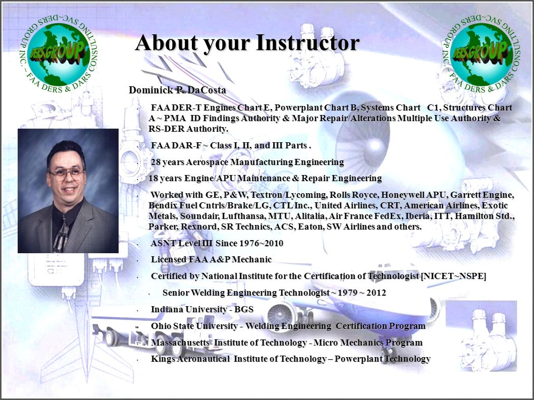 About your Instructor Dominick P. DaCosta
