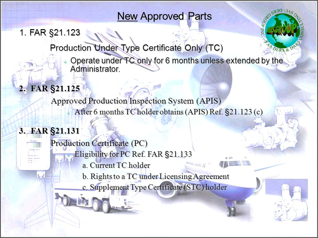 New Approved Parts 1. FAR §21.123